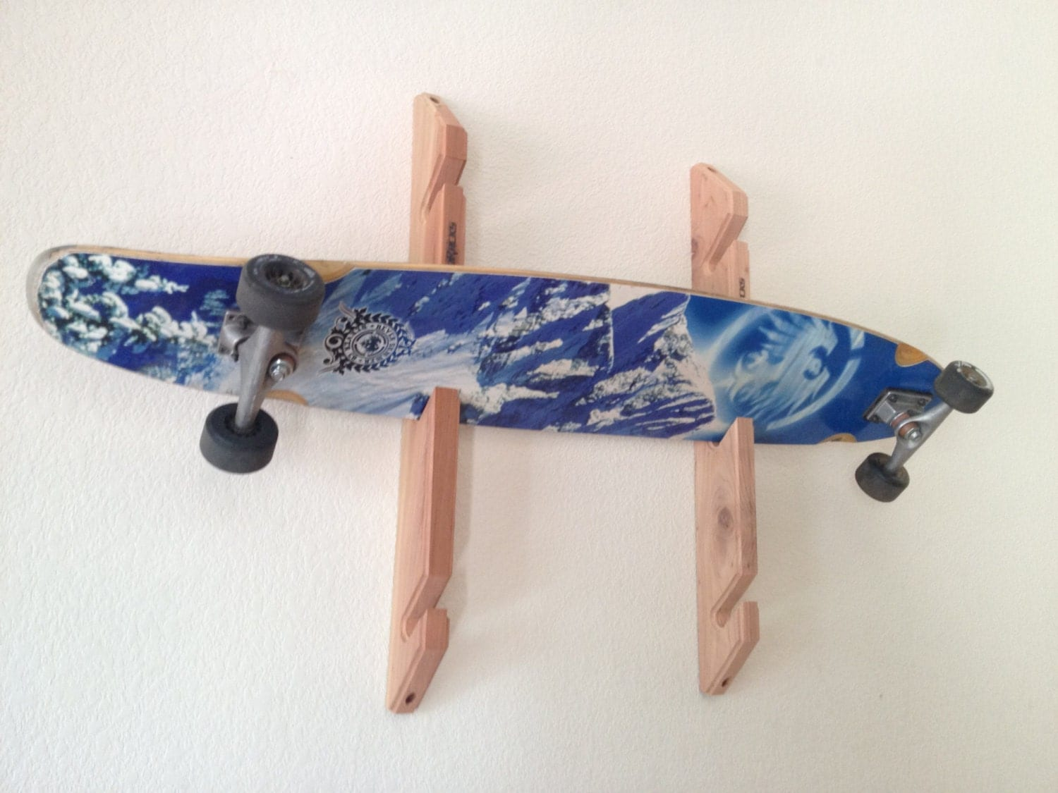 skateboard longboard wall rack mount holds 3 boards