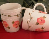 Hand Painted Coffee mugs with Autumn Pansies