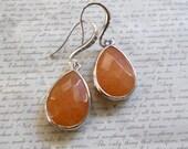 Dangle Earrings, Pumpkin Earrings, Reconstructed Stone Earrings, Everyday Jewelry, Womens Jewelry, Orange Earrings
