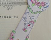 "Bookmark...""Hearts and Flowers"" Hand Painted"