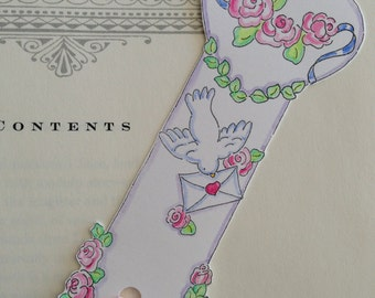 Bookmark, Dove, Love Letter, Romance, Hearts, Flowers, Roses, Hand Painted, Pen and Ink, illustration, Art, Cottage Chic, Pink Ribbon