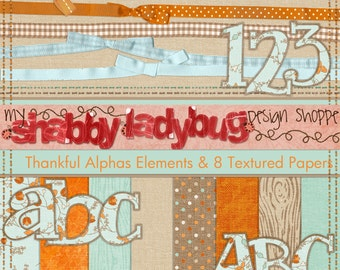 Thankful Digital Textured Papers Ribbons, Alphas, Stitches