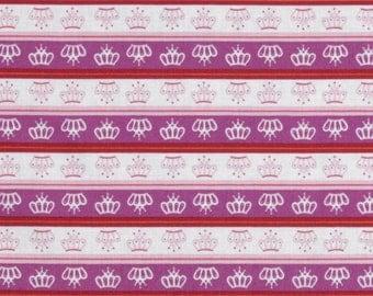 Last piece - 2 yards Little Princess Purple Crown Stripe by Davids Textiles - princess, hearts, castles