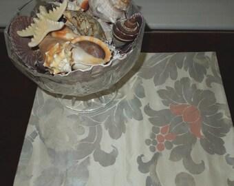 Silk obi candle mat - shades of rainbow silver flowers