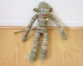 Camo sock monkey plush - army green, brown, and tan camouflage print