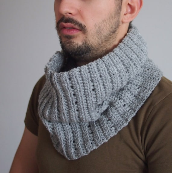 Crochet Scarf Pattern Male : Crochet PATTERN men cowl men neckwarmer loop scarf man