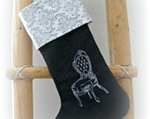 White/ vintage chair/ gray wool/ embroidered/ Christmas stocking/ gray and white/ damask pattern/ French/ Nordic