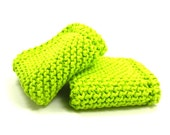 Knit Dishcloths, Kitchen Cotton, Wash Cloths, Knitted Dish Cloth, Grandma's Favorite, Dish Rag, Kitchen Cleaning, Cotton Cloths, Lime Green