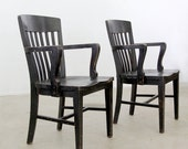 vintage wood chairs / library or office chairs / set of 2 chairs - 86home