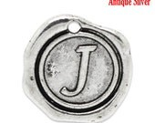 "1pc Initial ""J"" Antique Silver Charm. Personalized Small Pendant. Metal letter. 18mm Round Disc. Necklace Bracelet Component."