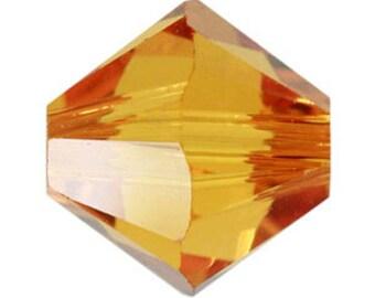 30 Swarovski Crystal Bicone Beads Topaz Amber 4mm Small Glass Crystal Beads Birthstone November