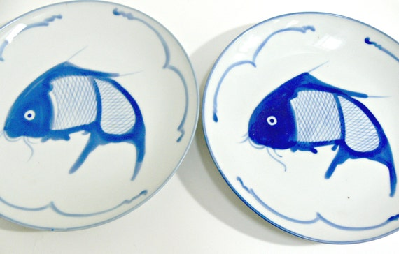 blue and white koi fish plates set of 2 hand painted