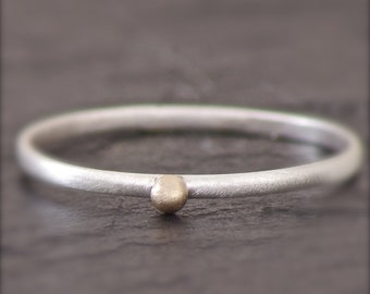 Stackable Sterling Ring with 14k Gold Dot