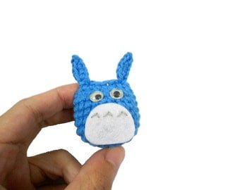 Amigurumi Totoro BLUE crochet Bag charm Phone charm 100% Cotton Yarn