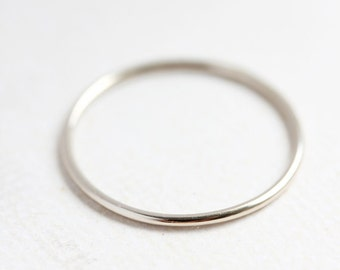 Solid 14k white gold stacking ring, round delicate gold band, thin gold band, stackable, size 4 to 9