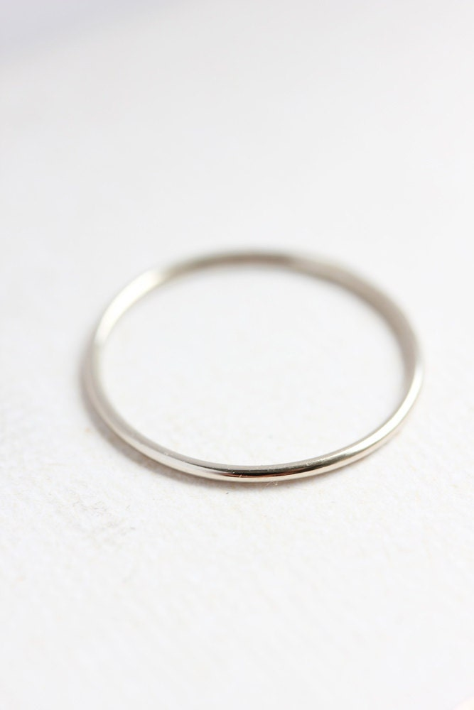 solid 14k white gold stacking ring delicate gold band