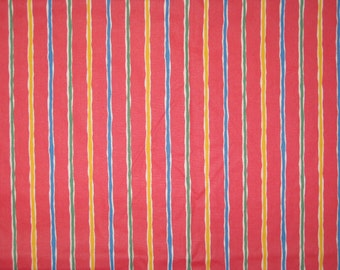 Red blue yellow green stripe design by the 1/2 yard cotton fabric