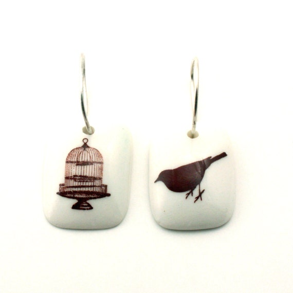 Fly Free Bird Cage Earrings Porcelain White on 925 Sterling Silver Hoop Handmade Shabby Chic