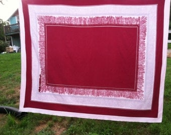 Vintage Tablecloth Geometrical Burgundy Gray Pink White