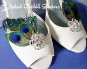 Wedding Shoe Clips, Peacock Feather Shoe Clips for Bride, Crystal Flower Shoe Clips, Art Deco Clips, Bride Shoe Accessories, Easy to Attach