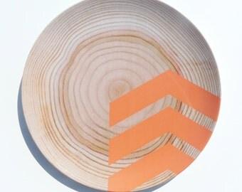 "Modern Wood Simple Chevron 10"" Melamine Plate, Miami Orange"