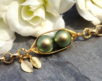 Two Peas In A Pod Gold Bracelet - Personalized Hand stamped Bracelet, New Iridescent Green