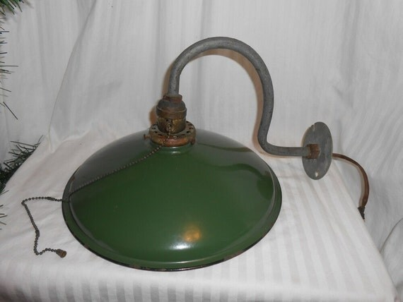 Vintage Barn Light Bell Shape Green Enamel Farm Light Pull