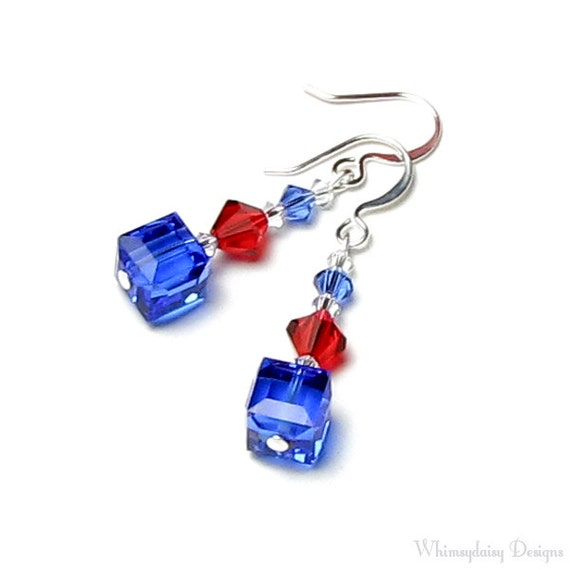 4th of July Earrings, Star Spangled Red White & Blue Swarovski Crystal Earrings, Patriotic Jewelry, American Pride, Gift for Military Moms