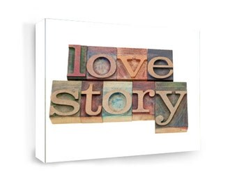 Framed canvas print Love story Wall art signs digital plaque