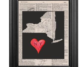Dictionary Art Print - New York Love - 8x10