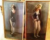 LA Art, 1980's Vintage Original Framed Set of Paintings, Artwork, Wall Art, Wall Hanging, Pair, Set