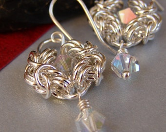 Romanov Chainmaille Earrings, Argentium Silver Chainmaille Crystal Flower Earrings, Silver Chain Mail Floral Dangle Earrings