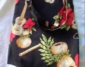 Hawaiian print tote bag 100 percent cotton with Hawaiian musical instruments black, natural, red