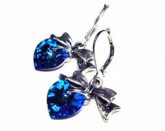 SILVER BOW Heart Earrings