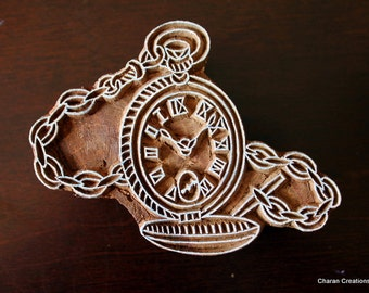 Indian Wood Block Printing Stamp-  Pocket Watch