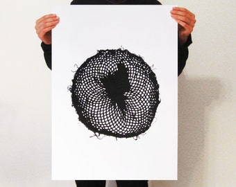GRID Screenprint Poster,  hand printed, Modern Design.