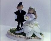 Wedding Cake Topper, Mr. & Mrs. Folk Couple, One Of A Kind Cake Topper