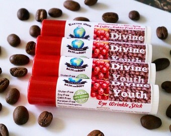 Divine Youth Eye Wrinkle Stick. All Natural, 1% Organic Coffee Fruit Extract, Herb Infused, Highly Concentrated Anti Oxidant Blend.