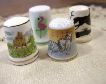 Animal Themed Thimbles, Porcelain, Instant Collection
