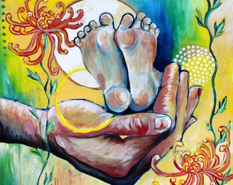 Support, GREETING CARD - mother and child art, hands and feet, human hands, yellow, green and pink
