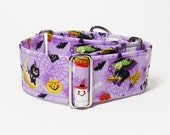 2 Inch Halloween Martingale Collar, Scary Witches, Cats and Pumpkins, Greyhound Martingale, Sighthound Collar