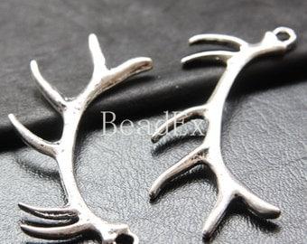4pcs / Antler / Charm / Pendant / Oxidized Silver Tone / Base Metal (YA25506//K222)