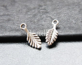 40pcs / Leaf / Oxidized Silver Tone / Base Metal / Charm (YA17764//O260)