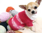 Pink Dog Sweater XXS Puppy Clothes Chihuahua Jumper Pet clothing Cottton Handmade Crochet DK863 Myknitt Free Shipping
