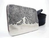 Mt. Hood Belt Buckle - Etched Stainless Steel - Handmade
