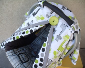 Carseat Canopy Carseat Cover Giraffe Dots REVERSIBLE Universal
