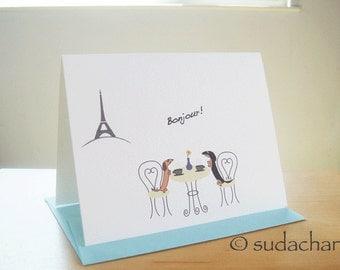 "Dachshunds in Paris Cafe - Single Card (4.25"" x 5.5"")"