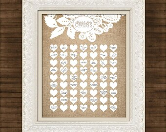 Burlap and Lace - Wedding Guest Book Signature Art Print - Signature Hearts - Guest Book Art Print