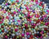 50 Perfect Faux Pearls 4MM ...  Mixed Colors