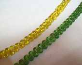 2 Full 12 inch Strands of Small Teardrop Glass beads  ... 1 strand Honey Gold and 1 strand Green ...  over 75 beads per strand